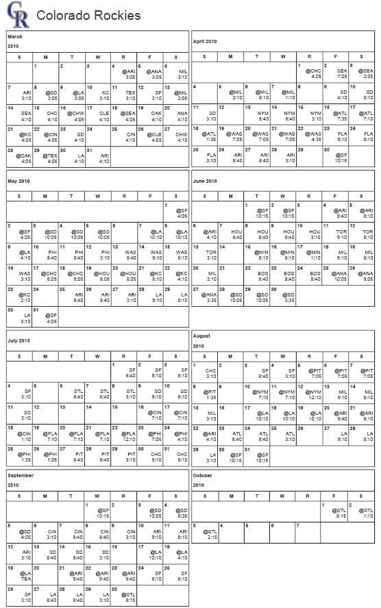 All Things Rockies Printable 2010 Colorado Rockies Schedule