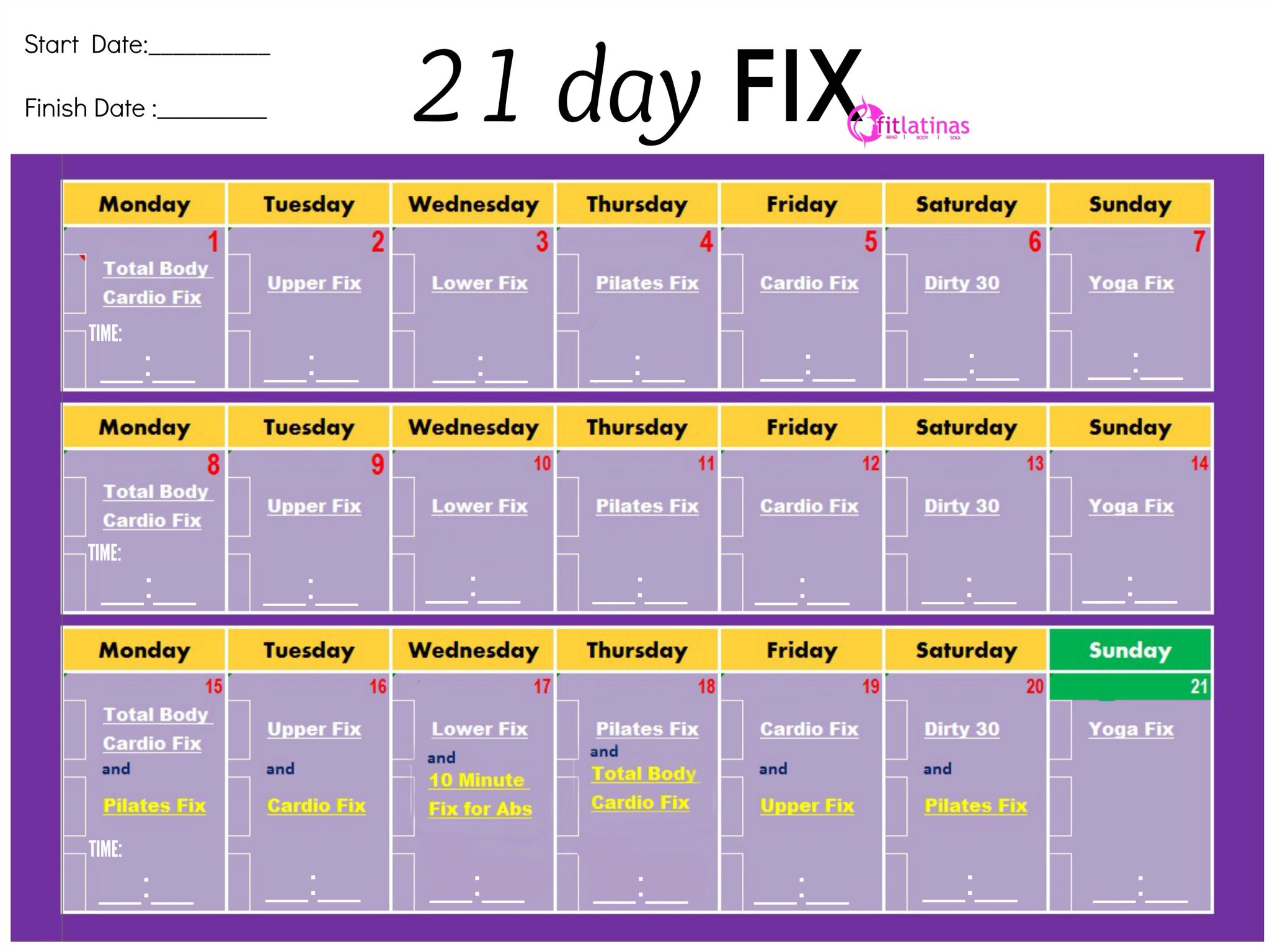 Another Easy Printable Chart 21 Day Fix Workouts 21 Day