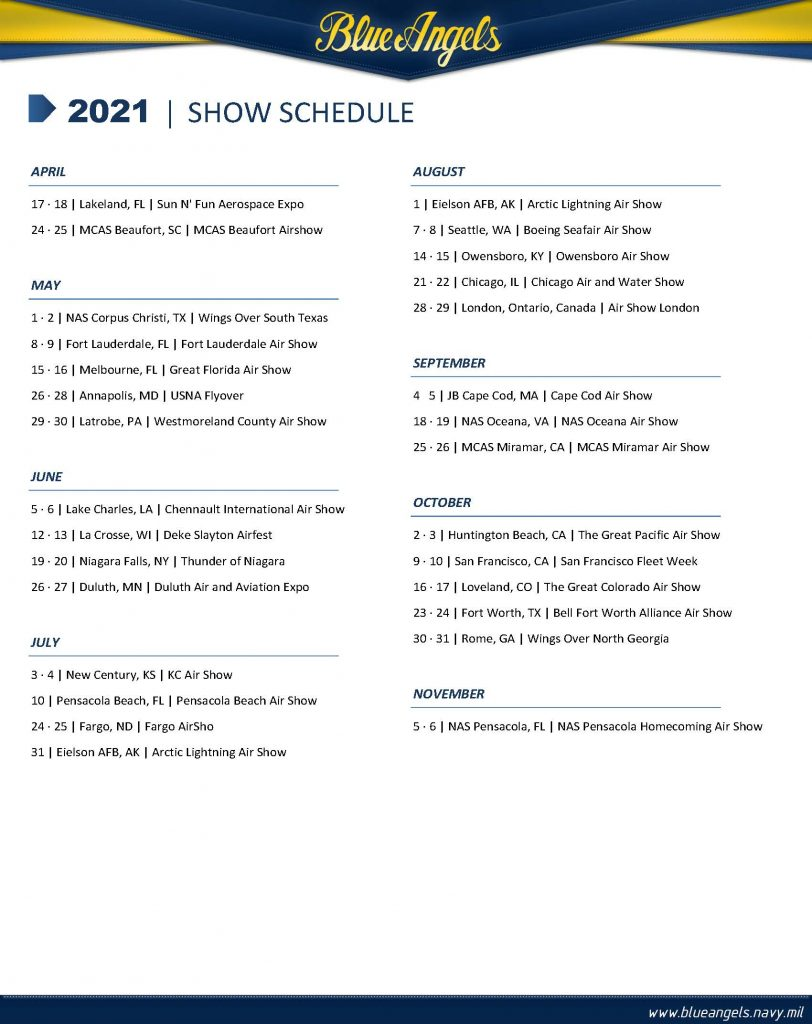 Blue Angels 2021 Air Show Practice Schedule