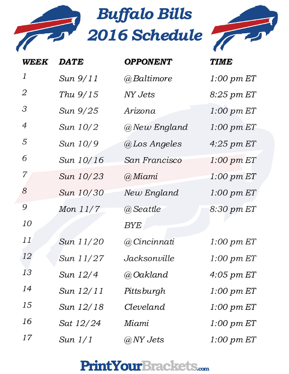 Buffalo bills printable schedule
