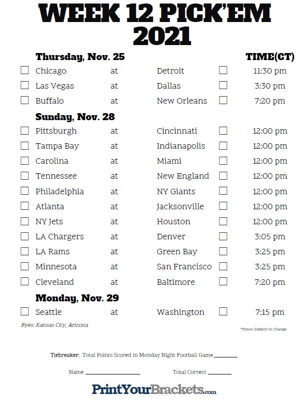 Central Time Week 12 NFL Schedule 2020 Printable