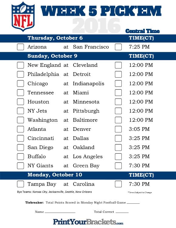 Central Time Week 5 NFL Schedule 2016 Printable