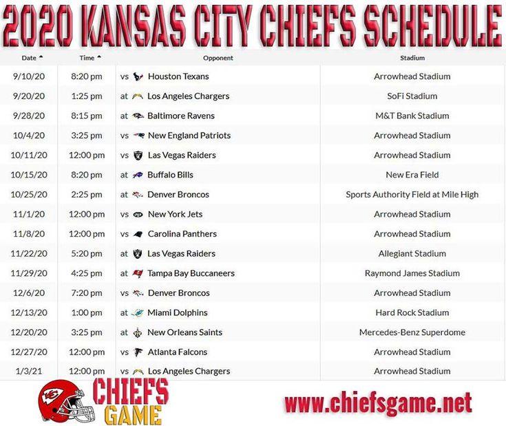 Chiefs Game Schedule In 2021 Kansas City Chiefs Game