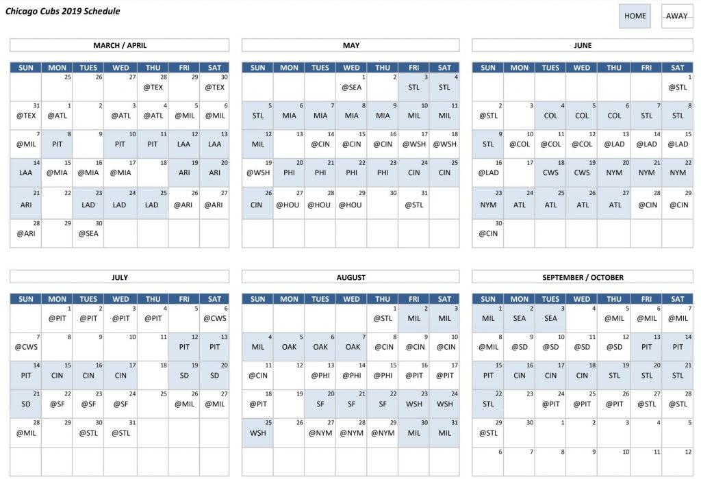 Clean Chicago Cubs Schedule Printable Derrick Website