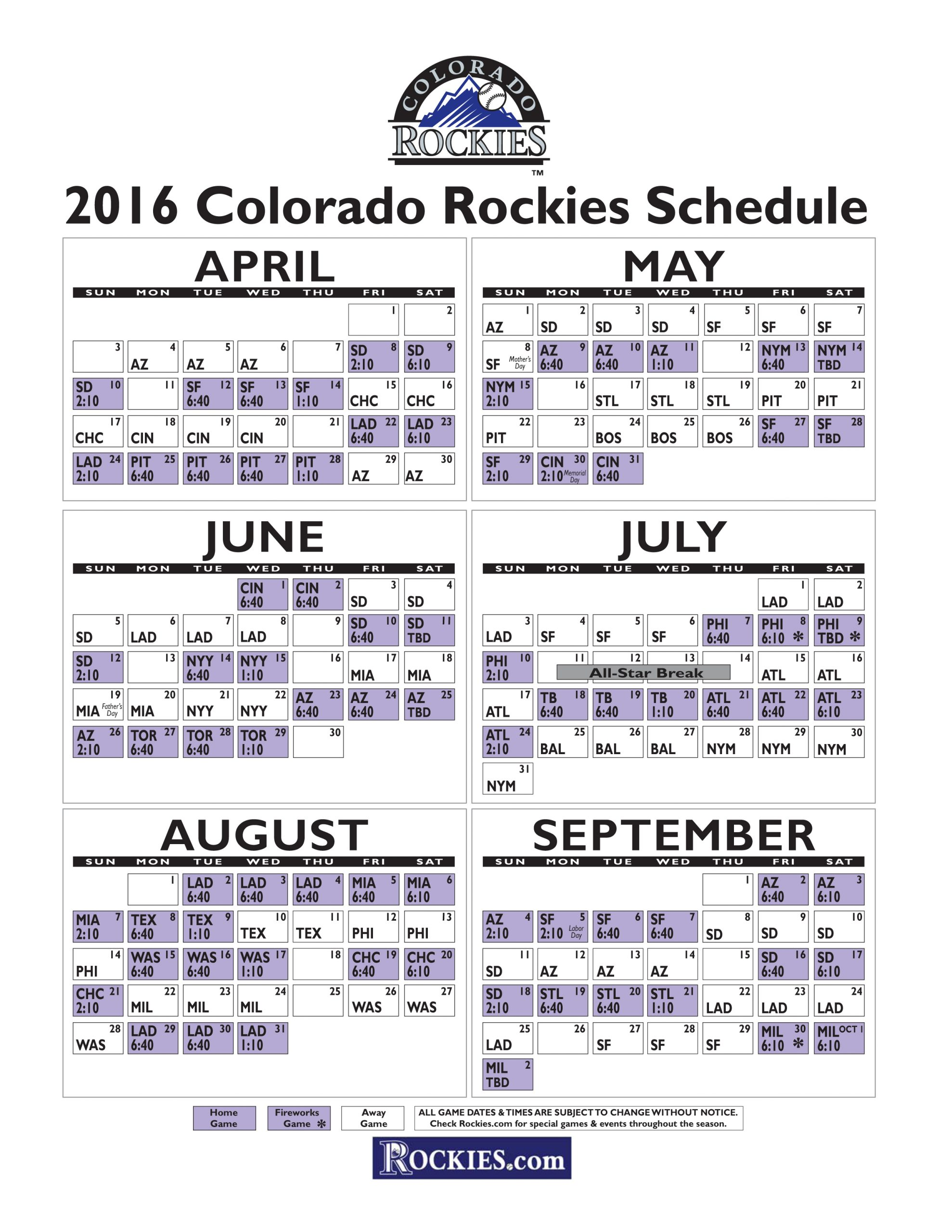 Colorado Rockies Schedule 2015 Examples And Forms