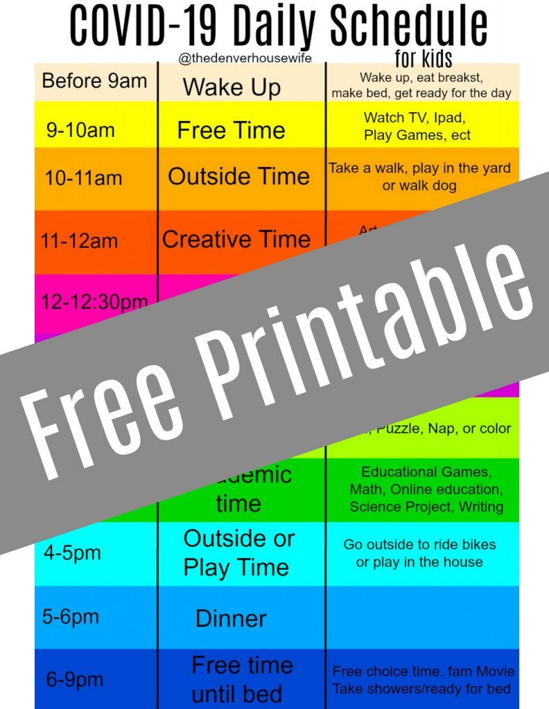COVID 19 Daily Schedule For Kids While Home The Denver
