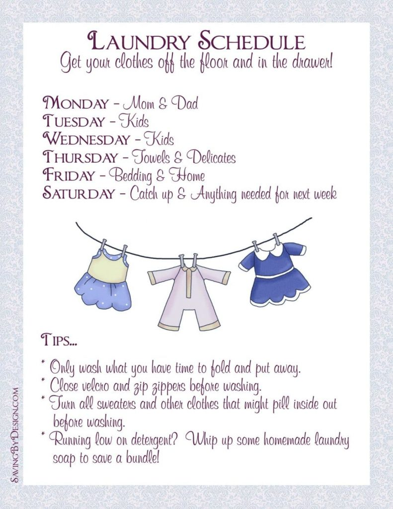 Create A Laundry Schedule To Get Your Laundry Off The