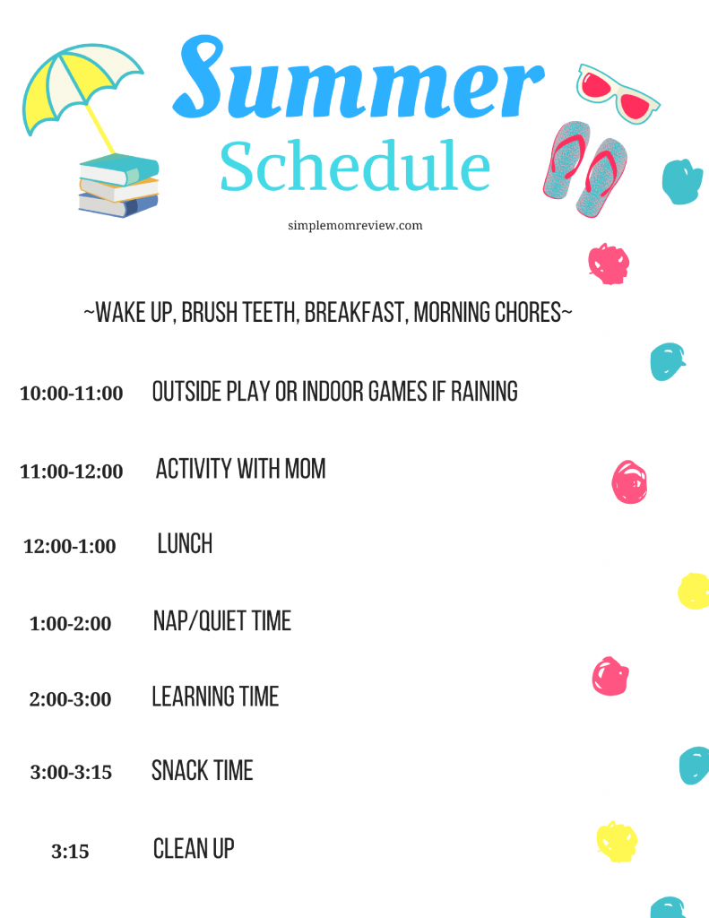 Daily Summer Schedule For Kids Free Printable Simple