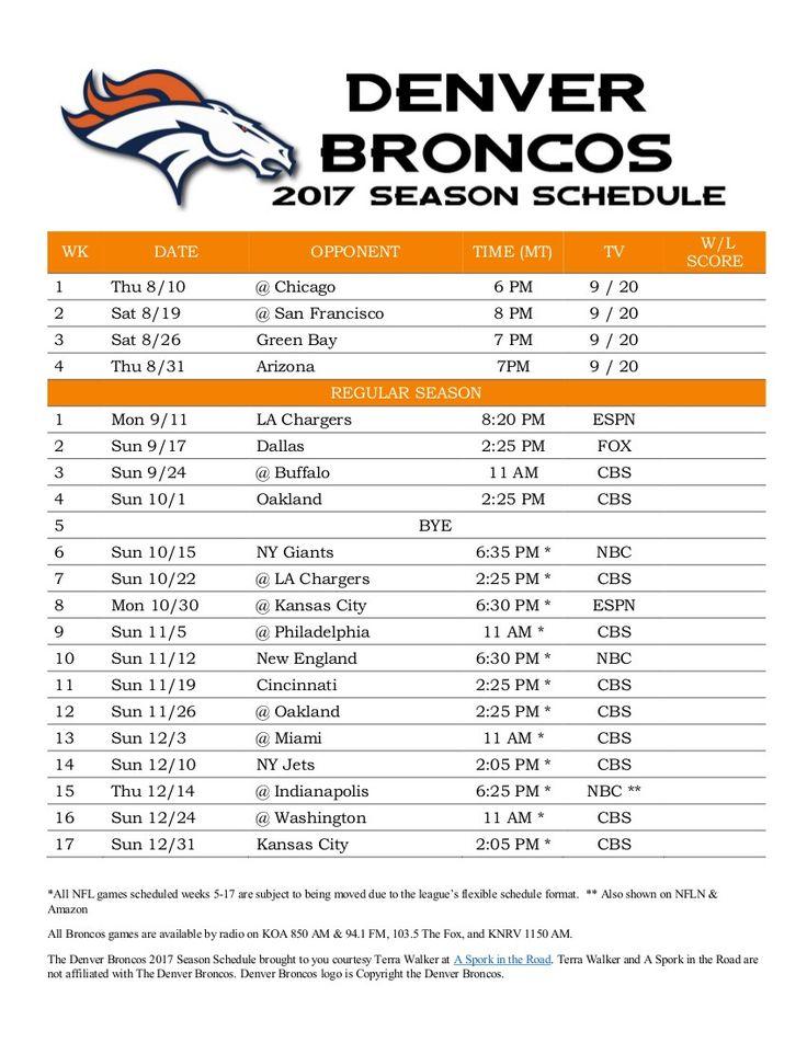 Denver Broncos 2017 Season Schedule FREE PRINTABLE