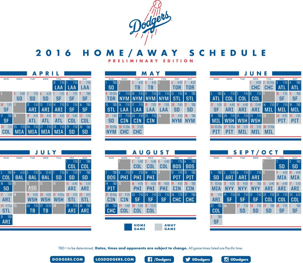 Dodgers Release Preliminary 2016 Schedule Think Blue LA