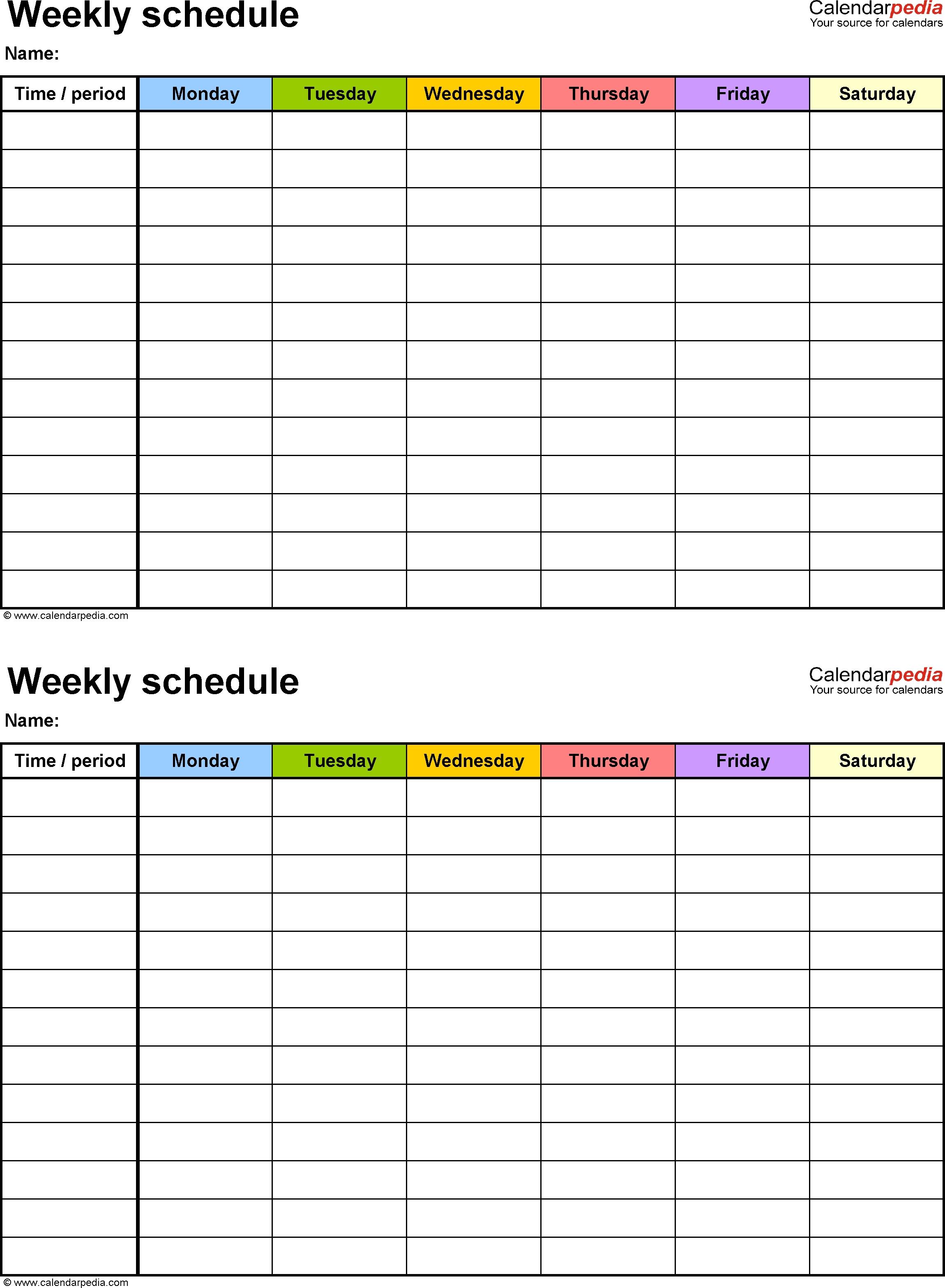 Extra Large Printable Blank Weekly Employee Schedule