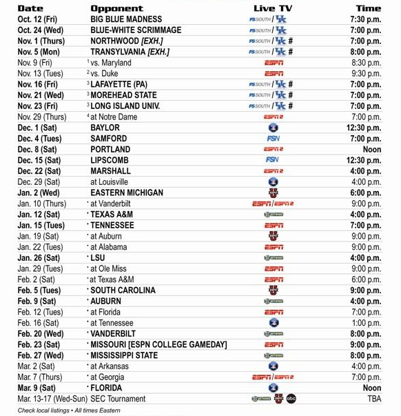 Full UK Basketball Schedule Announced With Times And TV