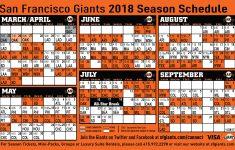 Giants Printable Schedule San Francisco Giants