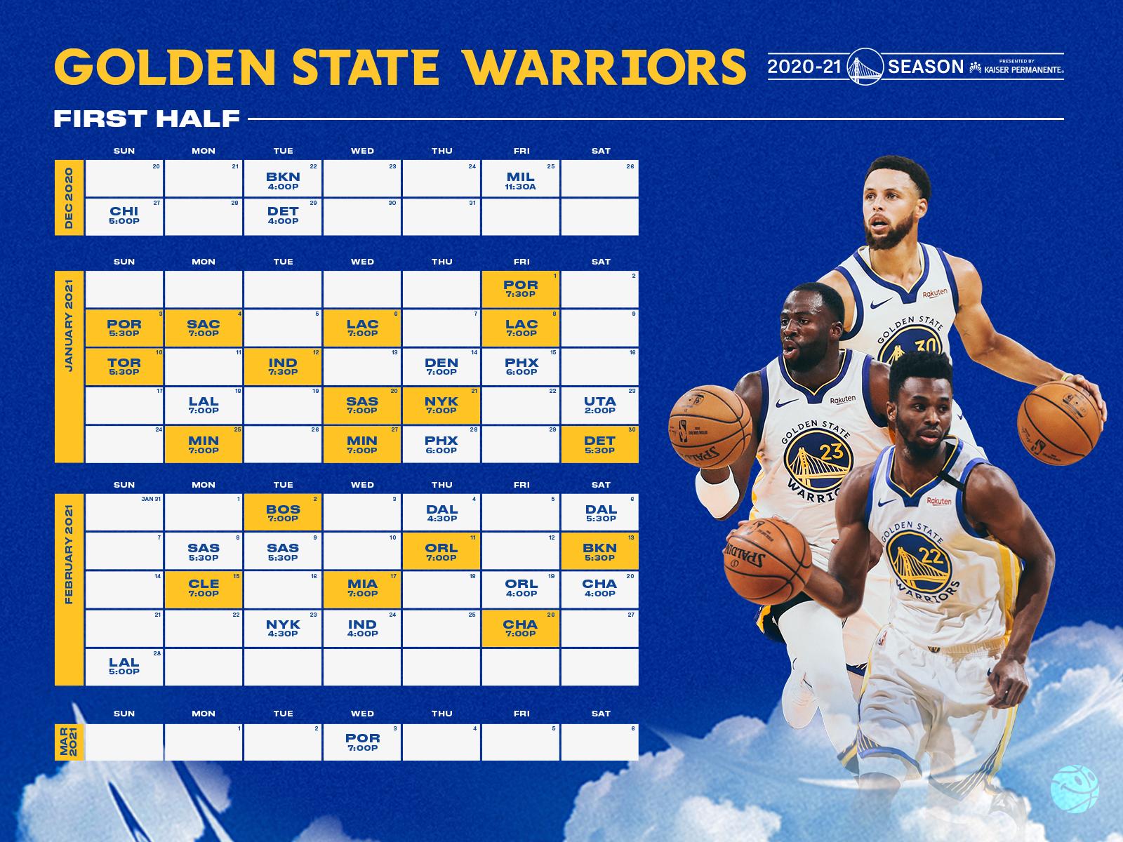 Golden State Warriors Printable Schedule 2021