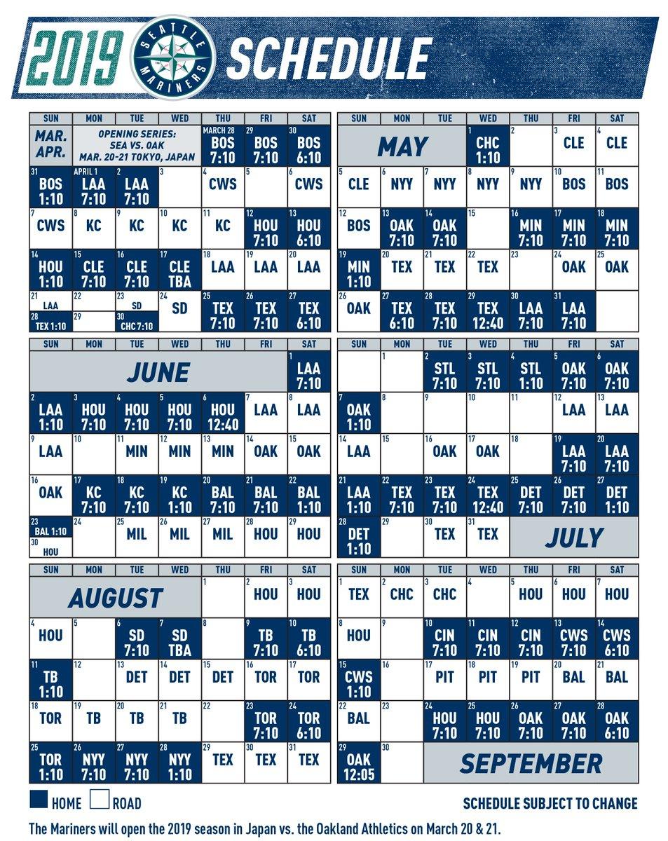 Gratifying Mariners Printable Schedule Derrick Website