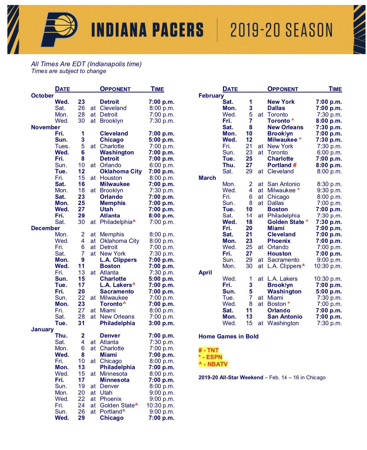 Here s Our 2019 20 Schedule Pacers