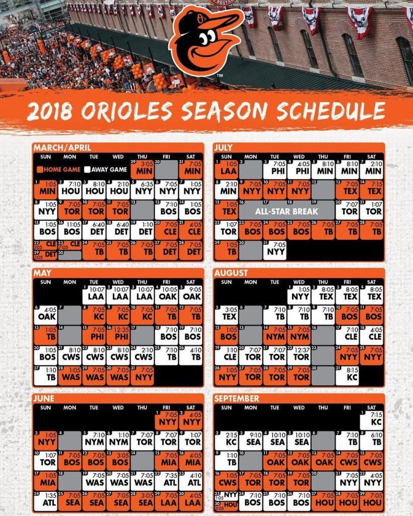 Heres The Official 2018 Orioles Schedule Opening Day Is