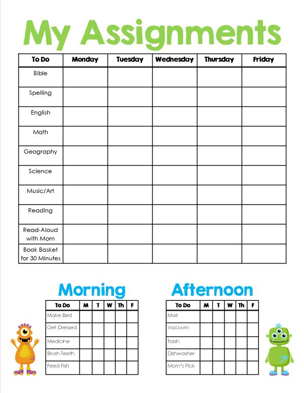 Homeschool Assignment Chores Sheet Free Printable