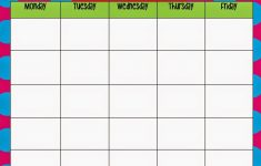 Monday Friday Blank Weekly Schedule Calendar Template