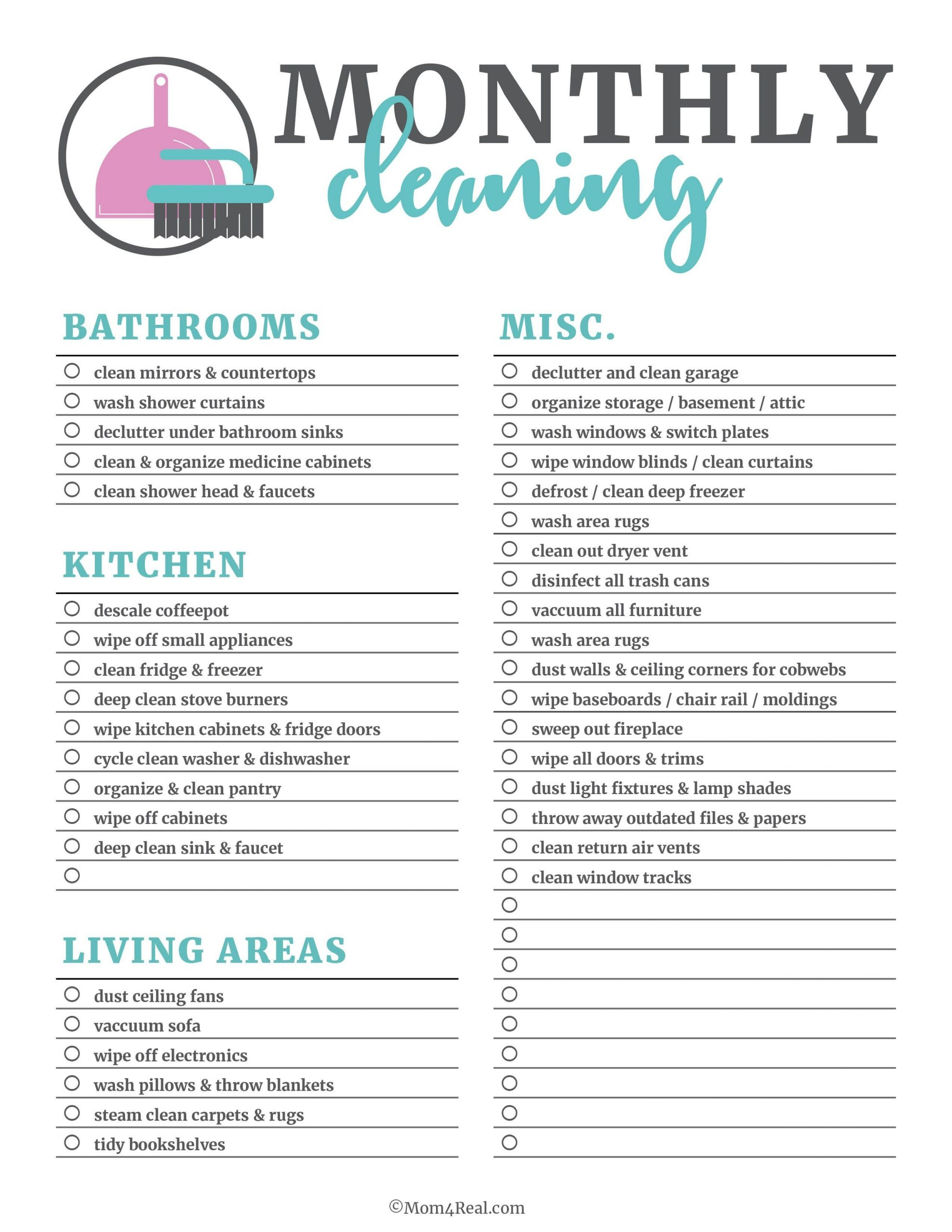 New Monthly Cleaning Schedule Template xls xlsformat
