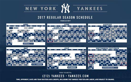 New York Yankees Printable Schedule New York Yankees