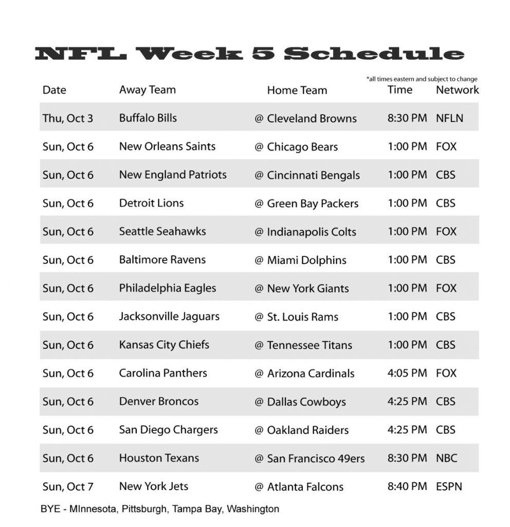 Nfl Week 5 Schedule