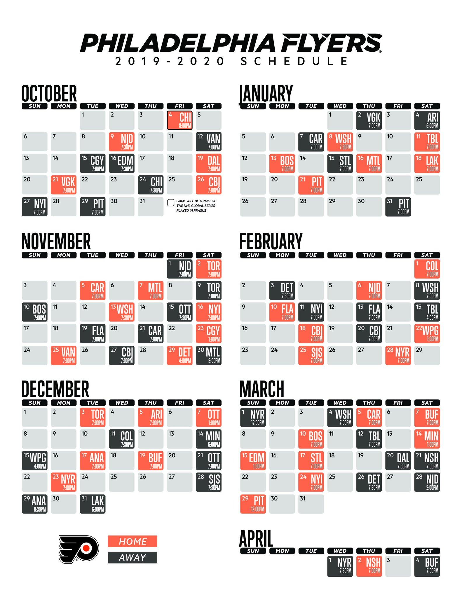 Philadelphia Flyers Printable Schedule That Are