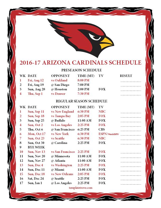Printable 2016 2017 Arizona Cardinals Schedule