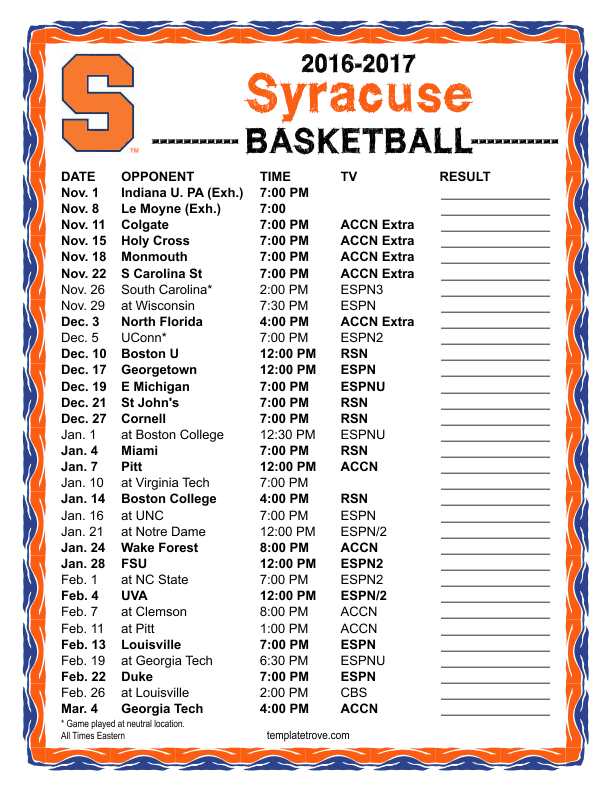 Printable 2016 2017 Syracuse Orange Basketball Schedule