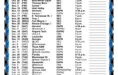 Printable Kentucky Basketball Schedule