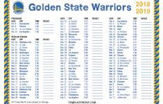 Golden State Warriors Schedule Printable