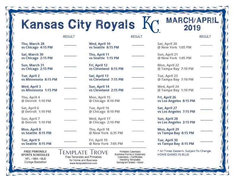 Printable 2019 Kansas City Royals Schedule