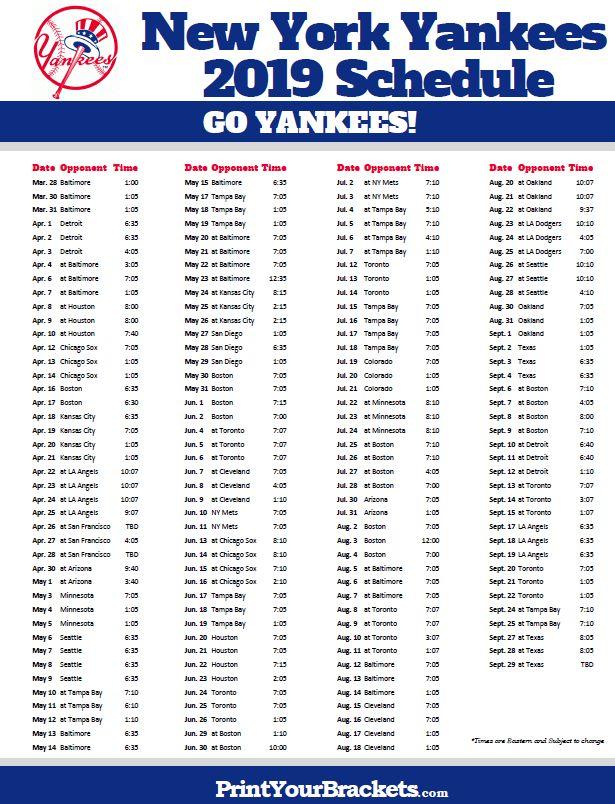 Printable 2019 New York Yankees Schedule Yankees