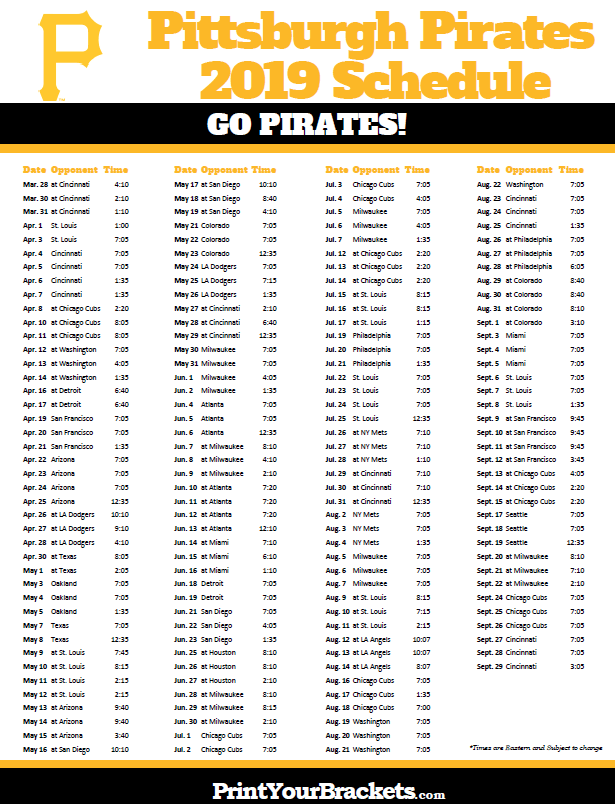 Printable 2019 Pittsburgh Pirates Schedule Pittsburgh