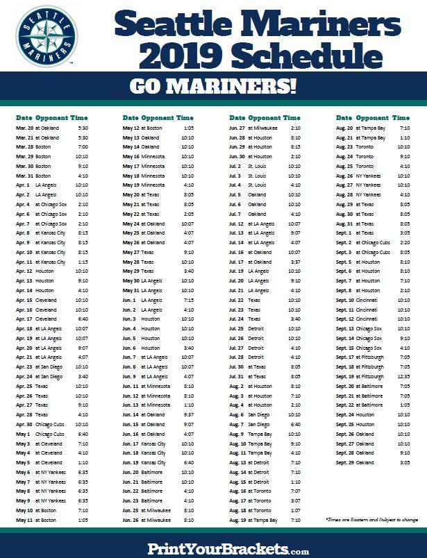 Printable 2019 Seattle Mariners Schedule Seattle