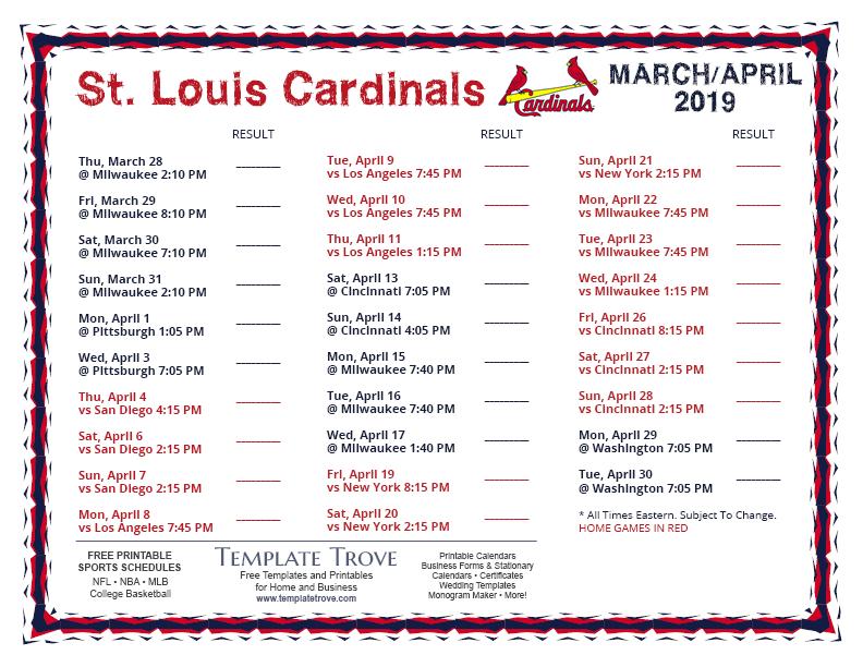 Printable 2019 St Louis Cardinals Schedule