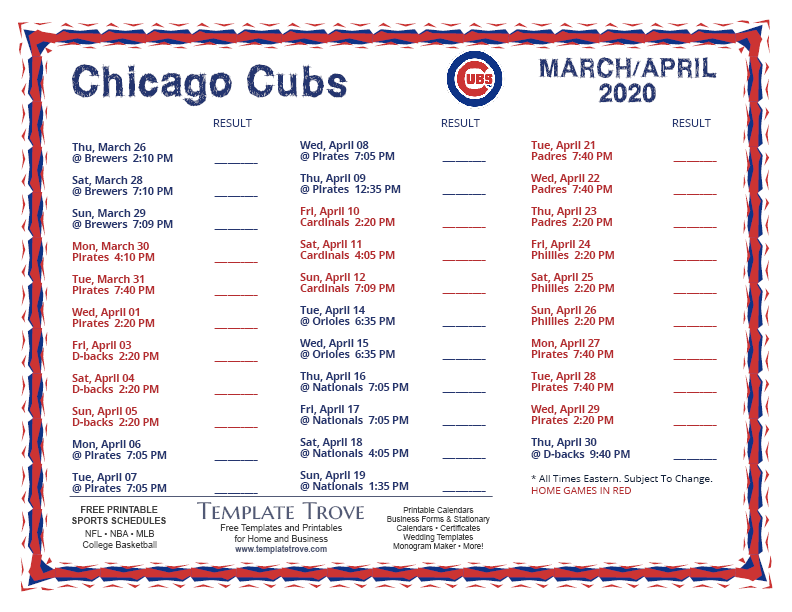 Printable 2020 Chicago Cubs Schedule