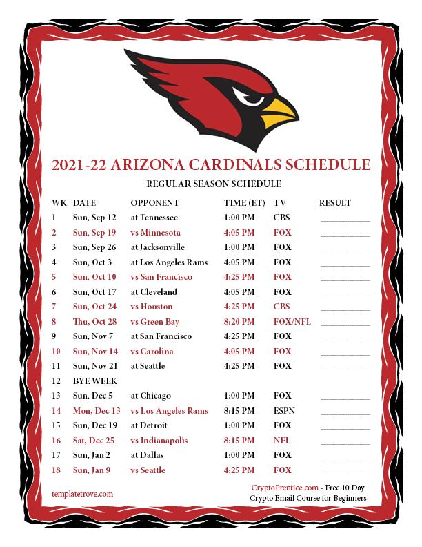 Printable 2021 2022 Arizona Cardinals Schedule