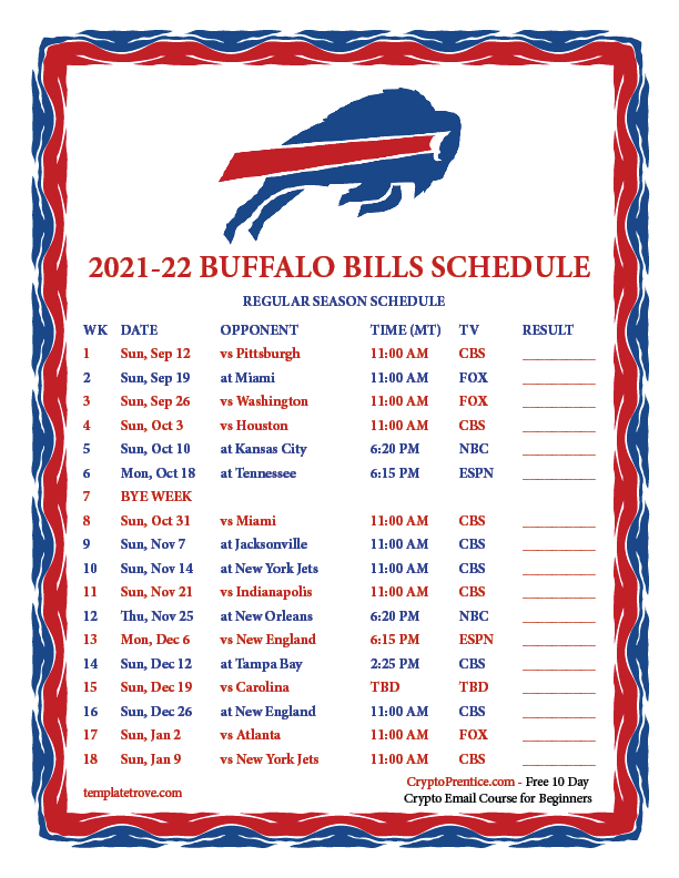 Printable 2021 2022 Buffalo Bills Schedule
