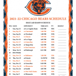 Printable 2021 2022 Chicago Bears Schedule