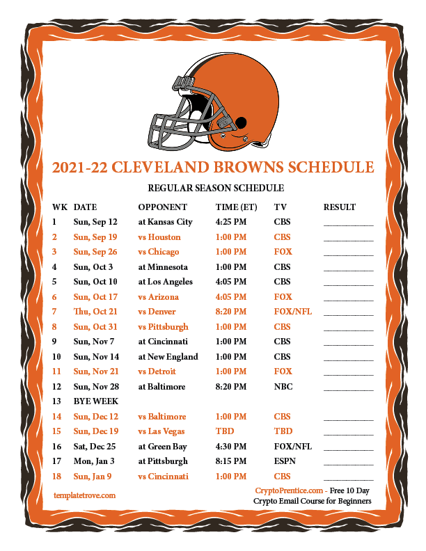 Printable 2021 2022 Cleveland Browns Schedule