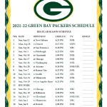 Printable 2021 2022 Green Bay Packers Schedule