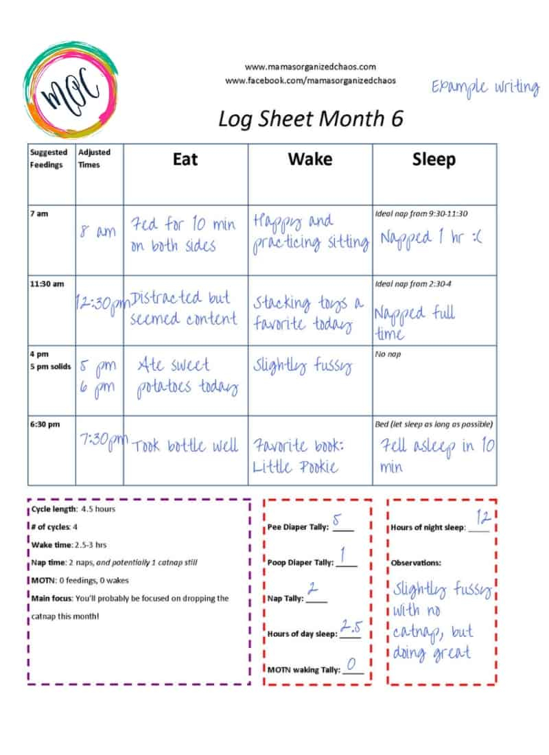 Printable Baby Schedule For Newborn To 6 Months