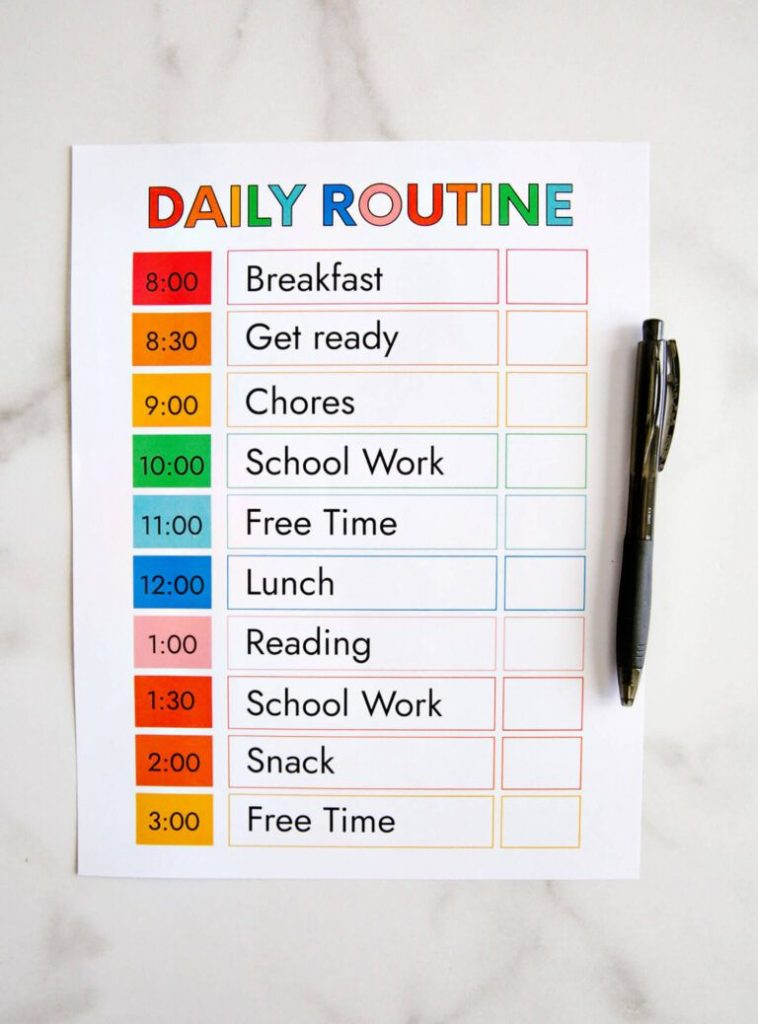 PRINTABLE DAILY ROUTINE Homeschool Daily Schedule