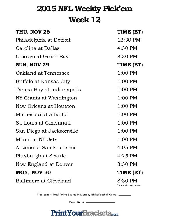Printable NFL Week 12 Schedule Pick Em Office Pool 2015