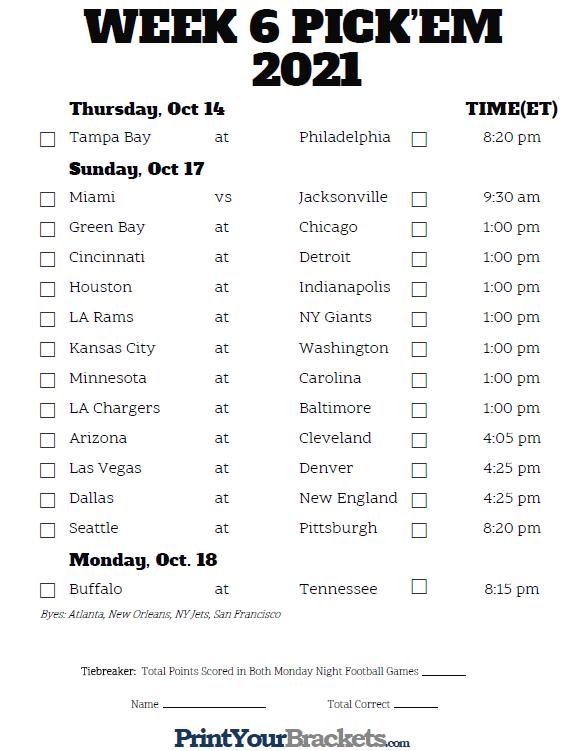 Printable NFL Week 6 Schedule Pick Em Pool 2020