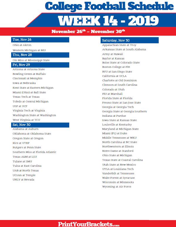 Printable Week 14 College Football Schedule 2021