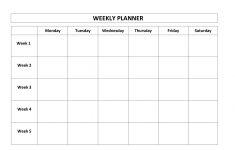 Printable Weekly Calendar Monday Thru Friday Example