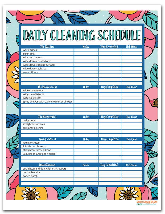 Printable Weekly Cleaning Schedule That Are Nerdy Pierce
