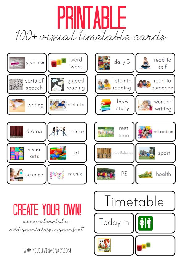 Printables Classroom Schedule Visual Timetable